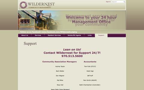 Screenshot of Support Page wildernesthoa.com - Wildernest Community Management - Support - captured Oct. 26, 2014