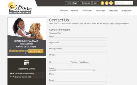 Screenshot of Contact Page estevanchamber.ca - Contact Us - Estevan Chamber of Commerce, SK - captured Sept. 29, 2018