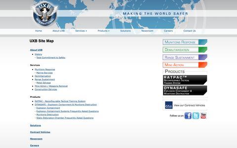 Screenshot of Site Map Page uxb.com - Sitemap - UXB International - captured Oct. 26, 2014
