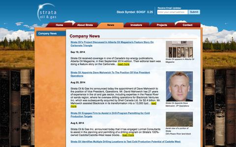 Screenshot of Press Page strataoil.com - Company News - Strata Oil & Gas - captured Oct. 7, 2014