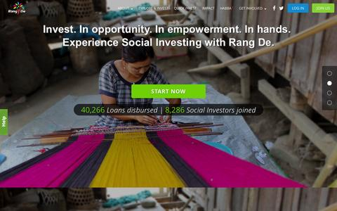 Screenshot of Home Page rangde.org - Rang De - Invest in rural entrepreneurs today - captured Oct. 21, 2015
