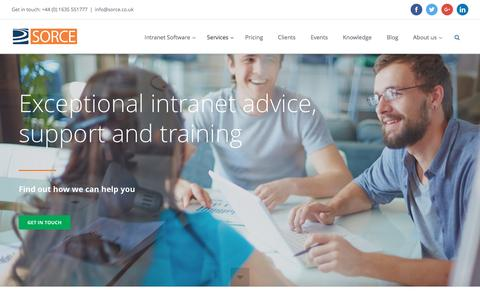 Screenshot of Services Page sorce.co.uk - SORCE Intranet Services - captured May 26, 2017