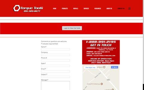 Screenshot of Contact Page torquetoolsinc.com - Torque Tools Inc | Torque Tools Inc. - captured June 19, 2017
