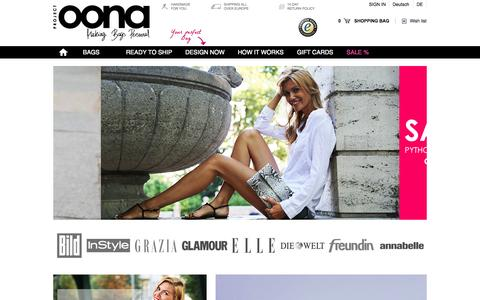 Screenshot of Home Page project-oona.com - Project OONA - Making bags personal - captured Sept. 23, 2014