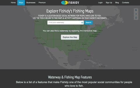Screenshot of Maps & Directions Page fishidy.com - Online Fishing Maps & Charts - captured Jan. 8, 2016