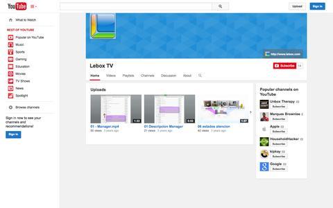 Screenshot of YouTube Page youtube.com - Lebox TV  - YouTube - captured Oct. 22, 2014