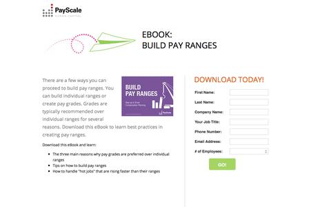 Screenshot of Landing Page payscale.com - Build Pay Ranges - captured Oct. 23, 2017