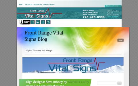 Screenshot of Blog frontrangevitalsigns.com - BLog fromFront Range Vital Signs - Boulder, Longmont, Louisville, CO - captured Sept. 30, 2014
