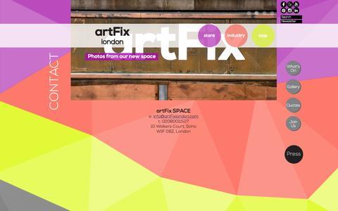 Screenshot of Contact Page artfixlondon.com - Contact | artFix - captured Dec. 28, 2015