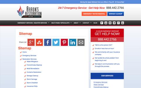 Screenshot of aaronsrestoration.com - Sitemap | Fire & Water Damage Restoration, Michigan & Upper Midwest - captured Oct. 3, 2015