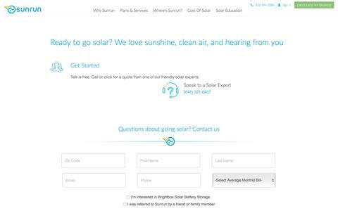Screenshot of Contact Page sunrun.com - Contact Us via Phone or Email | Sunrun - captured July 29, 2018