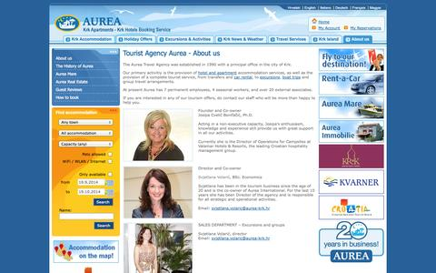 Screenshot of About Page aurea-krk.com - Tourist Agency Krk - AUREA Travel Agency - Krk Croatia - captured Sept. 19, 2014