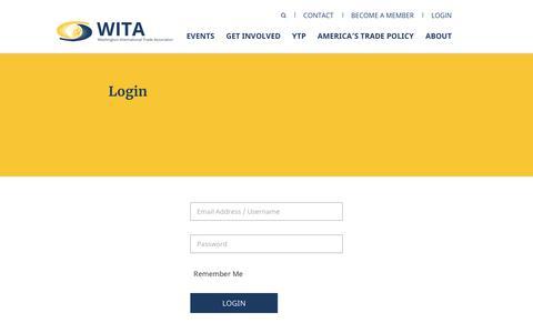 Screenshot of Login Page wita.org - Login - captured Sept. 20, 2018
