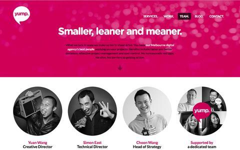 Screenshot of Team Page yump.com.au - Yump. Our Team. - captured Oct. 27, 2014