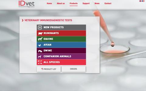 Screenshot of Products Page id-vet.com - Veterinary Immunodiagnostic tests   IDVet - captured Sept. 30, 2014