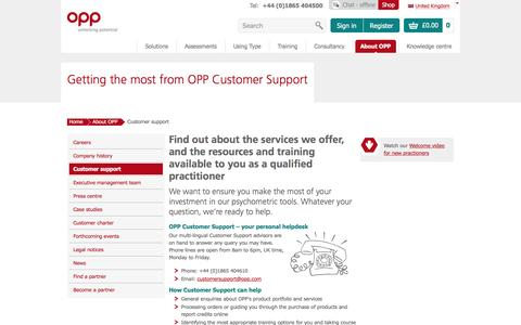 Screenshot of Support Page opp.com - Getting the most from OPP Customer Support | OPP - captured Jan. 18, 2016