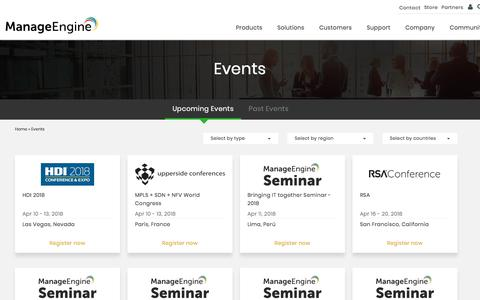 ManageEngine - Upcoming Events | Past Events