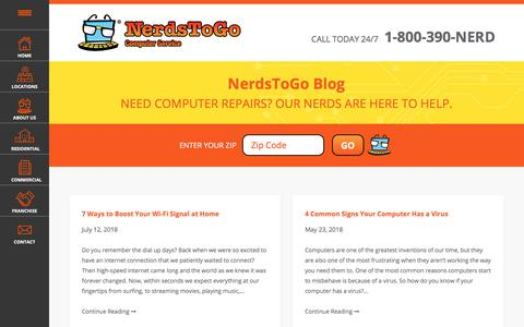 Screenshot of Blog nerdstogo.com - NerdsToGo Blog | How To Repair Computer Blog, Information & Updates - captured Sept. 20, 2018