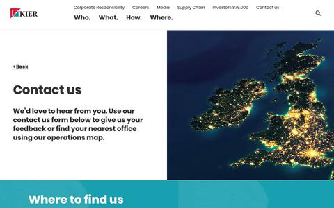 Screenshot of Contact Page kier.co.uk - Kier | Contact us - captured Oct. 13, 2018