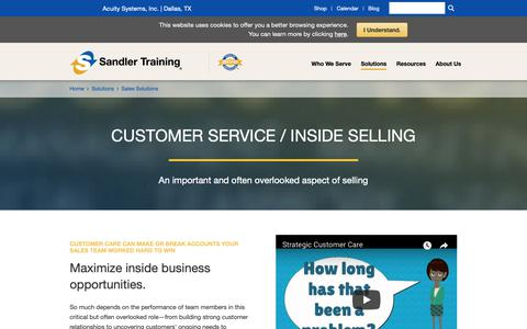 Screenshot of Support Page sandler.com - Customer Service / Inside Sales Training Solutions | Sandler Training - captured Oct. 3, 2018