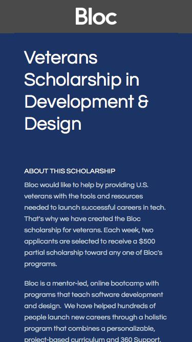 Bloc | Online Dev Bootcamp Scholarship for Veterans