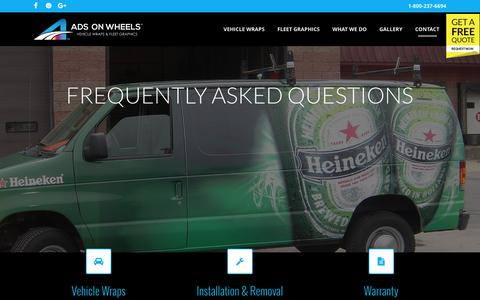 Screenshot of FAQ Page adsonwheels.com - Outdoor Advertising Banners | Custom Vinyl Banners | FAQS - captured Nov. 20, 2016
