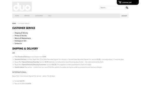 Screenshot of Privacy Page Support Page duo-menswear.com - Customer Service   Duo Menswear - captured Nov. 12, 2018