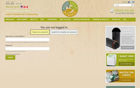 Screenshot of Login Page nofoodwaste.com - | Food Cycle Science | Food Waste Solutions | Recycling Machine for Food Waste - captured Oct. 6, 2014