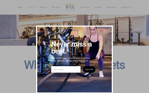 Screenshot of Services Page bodyandsoul.ca - Body + Soul Fitness | Personal Training Gyms in Toronto | Therapy - captured Oct. 6, 2018