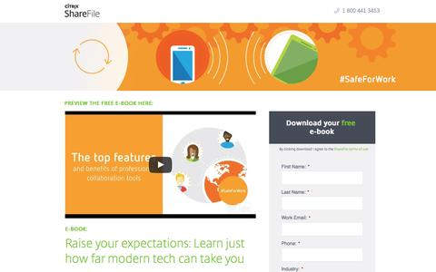 Screenshot of Landing Page sharefile.com - Great Expectations: How to Leverage New Technology in the Modern World of Business - captured Jan. 2, 2017