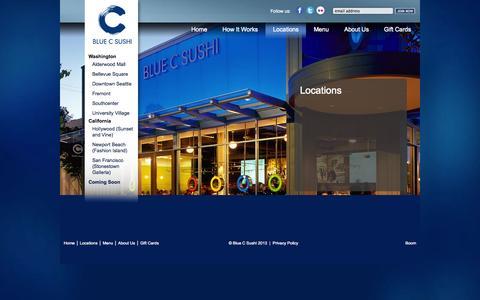 Screenshot of Locations Page bluecsushi.com - Locations - Blue C Sushi - captured Oct. 4, 2014