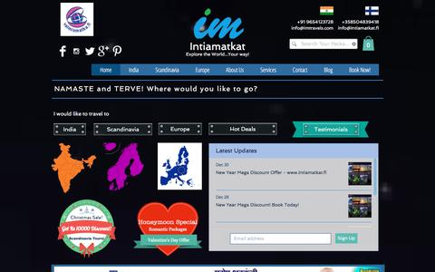 Screenshot of Home Page intiamatkat.fi - Intiamatkat Tours - captured Jan. 9, 2016
