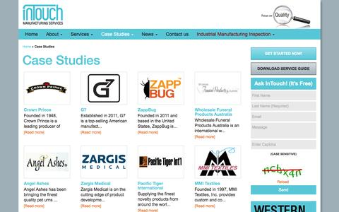 Screenshot of Case Studies Page intouch-quality.com - Case Studies | InTouch Quality Control - captured Oct. 1, 2014