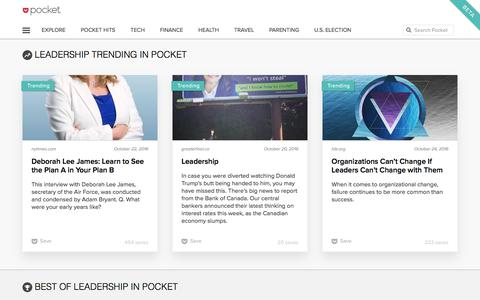 Top Articles and Videos about Leadership on Pocket