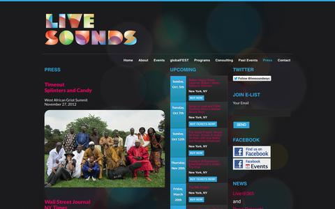 Screenshot of Press Page livesounds.org - Press | Livesounds - captured Sept. 30, 2014