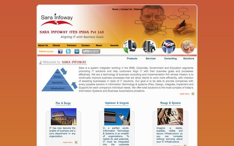 Screenshot of Home Page sarainfoway.com - Sara Infoway ITES India Pvt Ltd - IT Infrastructure Services Company | System Integration in India | Hardware Solutions in Hyderabad, Chennai, Mumbai, Pune | ITIL Consulting India | Microsoft Practice India | Microsoft Solutions India | Remote Infras - captured Oct. 3, 2014