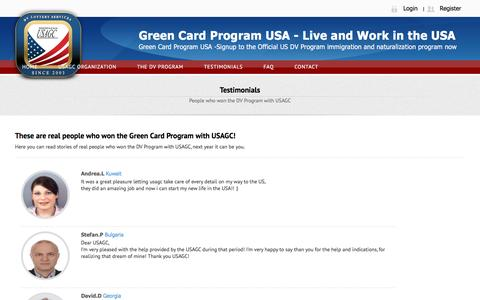 Screenshot of Testimonials Page usagc.org - USAGC - DV Program - captured Dec. 2, 2015
