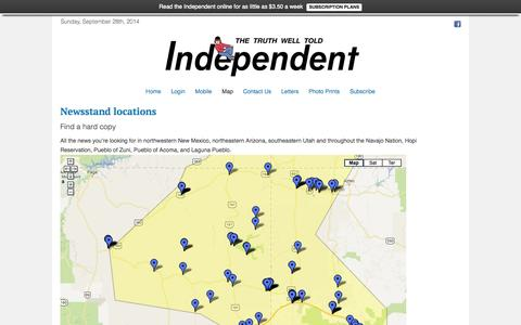 Screenshot of Maps & Directions Page gallupindependent.com - Newsstand locations - captured Sept. 30, 2014