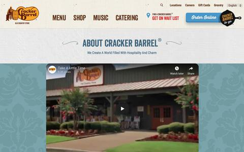 Screenshot of About Page crackerbarrel.com - About Cracker Barrel - captured July 22, 2018