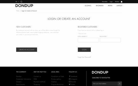 Screenshot of Login Page dondup.com - Customer Login - DONDUP Shop Online - captured July 30, 2018