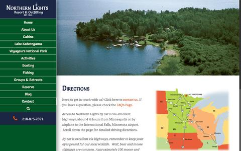 Screenshot of Maps & Directions Page nlro.com - Directions to Northern Lights Resort -Lake Kabetogama Lodge | Northern Lights Resort - captured Dec. 3, 2016