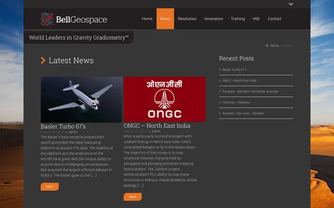 Screenshot of Press Page bellgeo.com - Gravity Gradiometry and Full Tensor Gradiometry News at Bell Geospace - captured Oct. 5, 2014