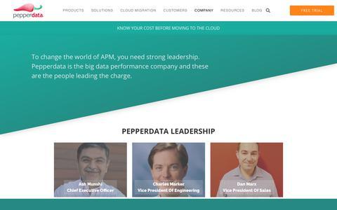 Screenshot of Team Page pepperdata.com - Leadership Team | Pepperdata - captured March 16, 2019