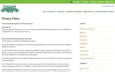 Screenshot of Privacy Page watercressline.co.uk - Privacy Policy Â« Mid Hants Railway Ltd 'Watercress Line' - captured Sept. 27, 2016