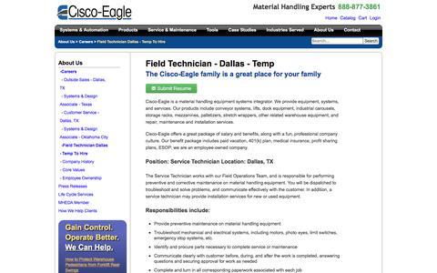 Screenshot of Jobs Page cisco-eagle.com - Conveyor and material handling service technician - Dallas | Cisco-Eagle - captured Jan. 5, 2017