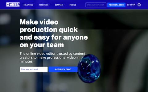 Screenshot of Home Page wibbitz.com - Wibbitz - Video creation platform for marketers, publishers, and agencies - captured July 15, 2019
