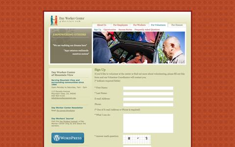 Screenshot of Signup Page dayworkercentermv.org - Day Worker Center : Sign Up - captured Oct. 5, 2014