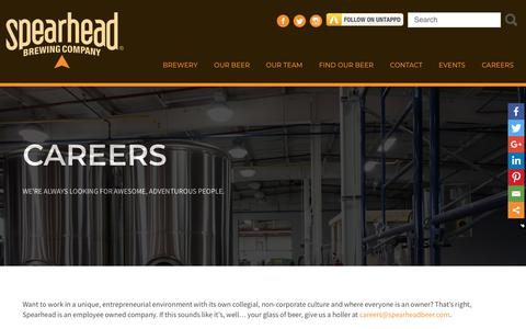 Screenshot of Jobs Page spearheadbeer.com - Careers - Spearhead - captured Oct. 19, 2018