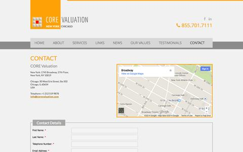 Screenshot of Contact Page corevaluation.com - CORE Valuation | Global Business Valuation Firm | Contact - captured Sept. 26, 2014
