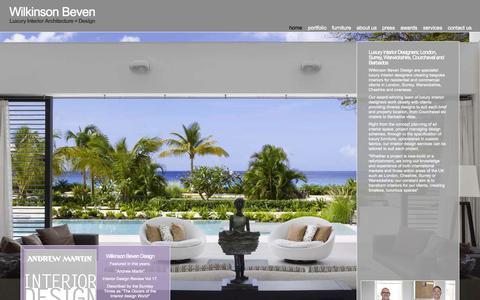 Screenshot of Home Page wilkinsonbevendesign.com - Luxury Interior Designers | London, Surrey, Warwickshire, Courchevel & Barbados - captured Oct. 7, 2014